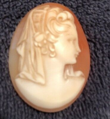 Vintage Carved Shell Cameo/CAMEO SHELL ONLY-Victorian Woman!!!!!
