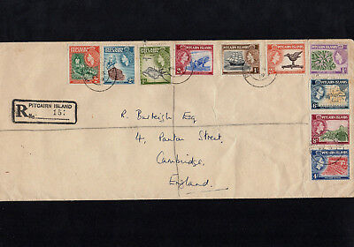 Pitcairn Islands 1959 Qe Ii Set To Top Value 2/6 On Registered Cover With Cds