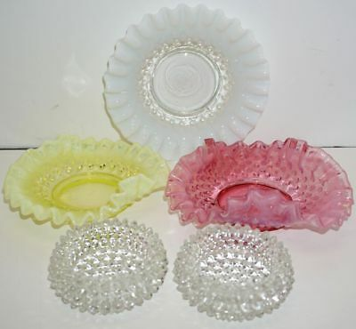 3 VINTAGE HOBNAIL GLASS w/RUFFLE EDGE DISHES~Deep Pink, Yellow & Milky White