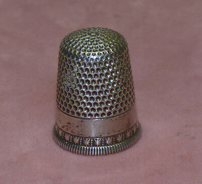 Antique Sterling Silver Waite Thresher Sewing Thimble w/ Star Mark Size 9