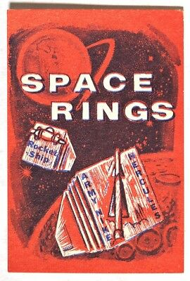 S024. Vintage: SPACE RINGS Red Vending Machine Paper Ad Piece (1960's) SCARCE ~~