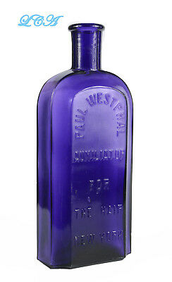 LARGE old AUXILIATOR for the HAIR quack HAIR TONIC antique bottle - DEEP purple