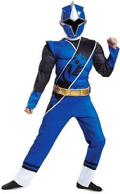 Licensed Blue Power Ranger Ninja Steel Muscle TV Character Costume Child Boys