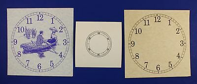 LOT of THREE VINTAGE NOS PAPER CLOCK DIALS - ONE WITH A BOAT SCENE - KC322