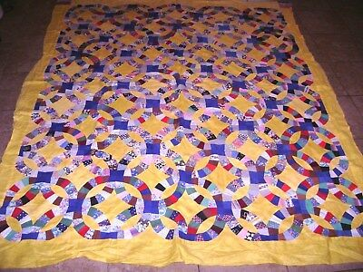 """Colorful Vintage Wedding Ring Quilt Topper Top Handmade 73"""" x 86"""""""