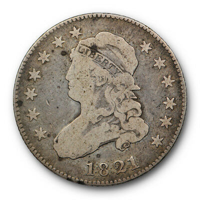 1821 Capped Bust Quarter Fine F US Type Coin Large Size #8063