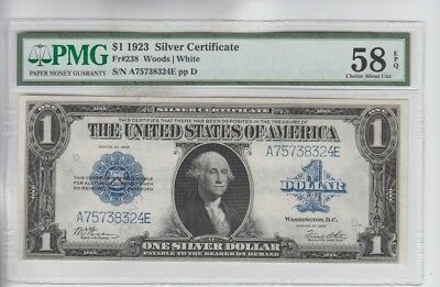 Silver Certificate $1 1923  PMG Choice about new 58EPQ