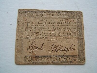 $8 Revolutionary War Continental Currency 8/14/1776 printed by Frederick Green