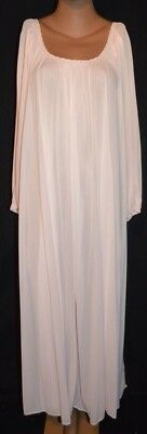 Vintage MISS ELAINE Pink Antron Nylon Long Sleeve Nightgown Lingerie - L ++