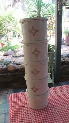 Vintage Tupperware Beige Canisters with good seals x 5