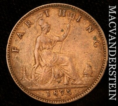 Great Britain: 1875-H One Farthing- No Reserve !! Scarce !! #y583