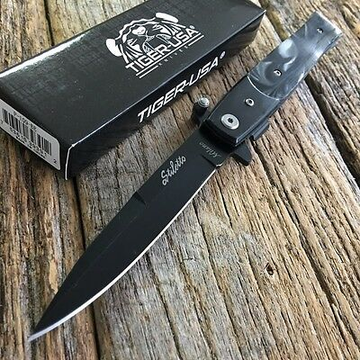 "9"" BK Marble Italian Milano Stiletto Tactical Spring Assisted Open Pocket Knife,"