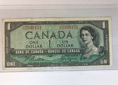 Canada. Canadian Currency, Paper Money, Bank Note One Dollar 1954