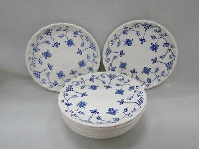 Myott Finlandia White Blue Floral Saucer Lot of 8