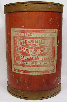 Vtg Large Spice Barrel Spices for Sausage Makers Pork Packers Supplies 1900s