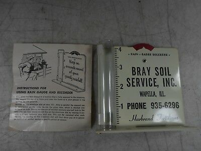 Vintage Soil Rain Gauge & Recorder  Metal with Paperwork by Bray  RARE ONE