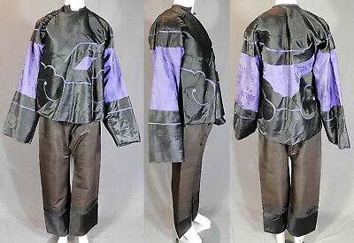 Antique Chinese Manchu Purple Silk Black Cut Work Applique Robe Jacket Pants Vtg