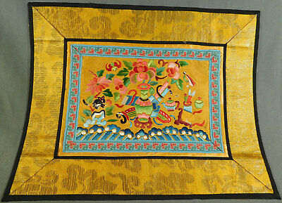 Antique Chinese Gold Yellow Silk Embroidered Black Cat Bat Textile Robe Trim Vtg