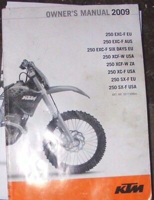 Ktm 250Exc-F / 250Xcf-W / 250 Xc-F Owners Manual 2009  (All Models Listed)