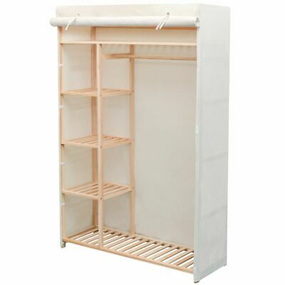 vidaXL Wardrobe Fabric and Pinewood Clothes Shoes Accessories Cabinet Storage✓
