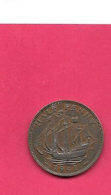 Great Britain Gb Uk Km844 1941 Vf-Very Fine-Nice Old Vintage Wwii 1/2 Penny Coin