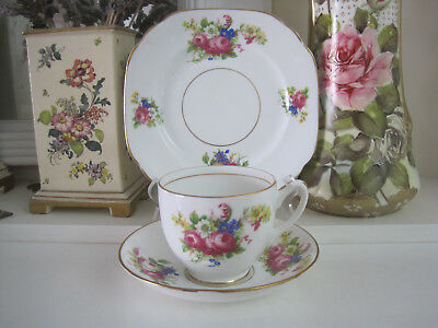 Pretty Vintage Early Duchess Floral Posies Fine Bone China Trio