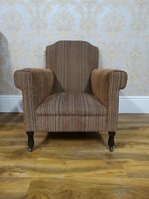 Super shaped antique early 20thC edwardian howard style reading library armchair