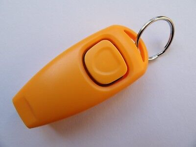 Dog Training Clicker With Whistle And Keyring Tag (Brand New) Orange