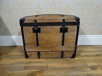 Fabulous antique early victorian waxed pine sea chest, pine dome topped trunk
