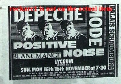 DEPECHE MODE UK TIMELINE Advert - Lyceum 15/16 Nov-1981 2x3 inches