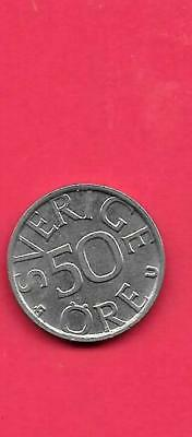 SWEDEN SWEDISH KM855 1977 xf-super FINE-NICE CIRCULATED OLD 50 ORE COIN