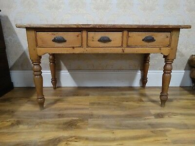 Superb Antique Victorian stripped english pine side table, hall console drawers