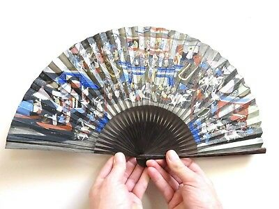 Beautiful Antique Vintage Chinese Fan With Hand Painted Scenes & Calligraphy