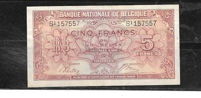 Belgium #121 1943 5 Francs=Belga Vf Circ Old Banknote Paper Money Currency  Note