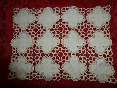 """Antique Vintage 19c Lace Tatting & Embroidered Linen insets 15"""" x 11"""" Runner"""