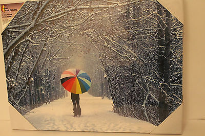 Christmas LED Light Multicoloured Umbrella Winter Wonderland Canvas Picture SALE
