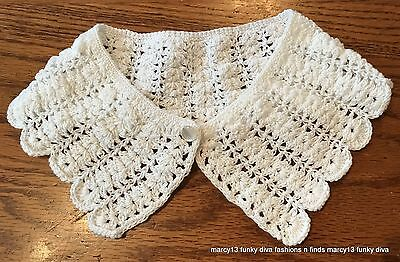 Elegant Vintage Hand Made Off White Crocheted Collar with Button 15""