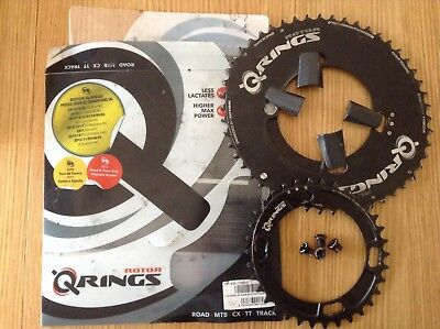 Rotor Q-Ring 50/34 Oval Aero Chainrings 4 bolt Shimano BCD with bolt covers!