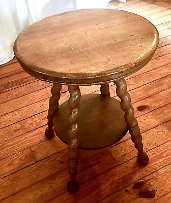 Antique Round 1/4 Sawn Oak Lamp Side Table Twisted Rope Legs 24 Inch Diameter