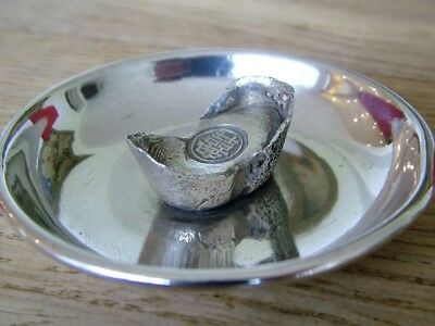 Genuine Antique Chinese Solid Silver Export Sycee Tael Ingot Dish Dollar No Res