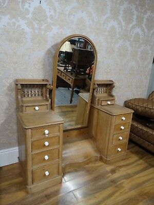 Superbly Quirky Antique Victorian pine Dressing chest of drawers & Cheval mirror