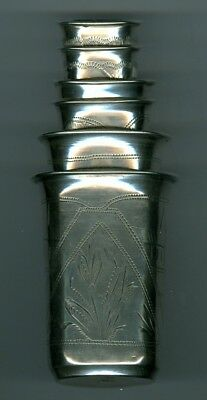 Russian Sterling Silver Nesting Cups - Set of 6 - 155 Grams