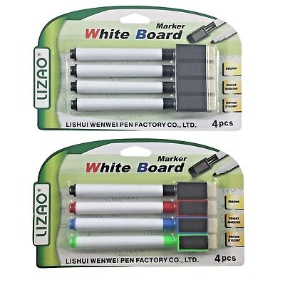 4 Pack magnet whiteboard markers drywipe markers pens dry erase easy wipe eraser