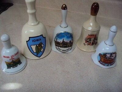 Collectible Iowa Bells Lot of 5 Estate Sale Glass Amana Grotto Pigs Corn