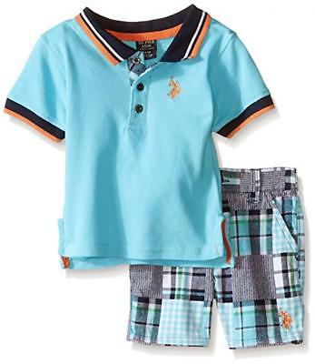 U.S. Polo Assn Infant Boys S/S Blue Polo 2pc Short Set Size 3/6M 6/9M $32