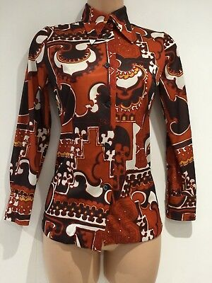 Japanese Vintage 70's Retro Rust Brown & White Abstract Print Shift Size 8