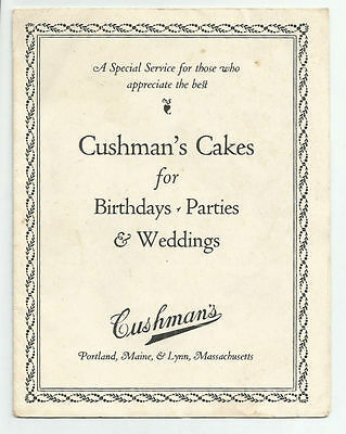 Cushmans Cakes for Birthday Parties Weddings Portland Maine Vintage Advertising