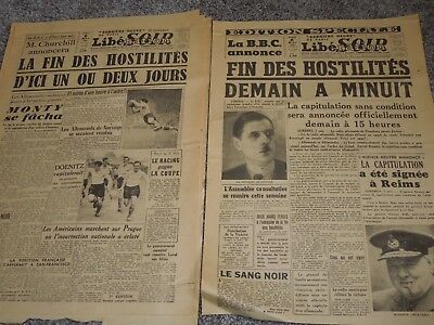 WWII ORIGINAL Lot of French Liberation VICTORY Newspapers May 8, 1945 Libesoir