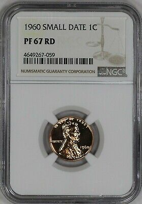1960   Lincoln Memorial Cent 1C Ngc Certified Pf 67 Small Date Rd Red  (059)