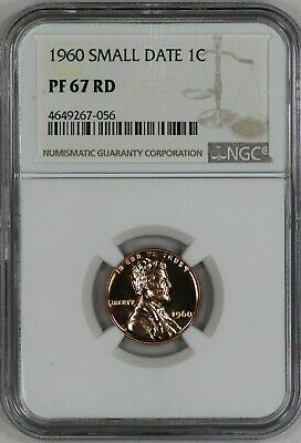 1960   Lincoln Memorial Cent 1C Ngc Certified Pf 67 Small Date Rd Red  (056)